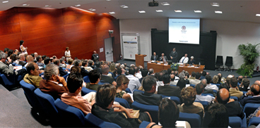 Audience at a seminar in the Auditorium of Sardegna Ricerche