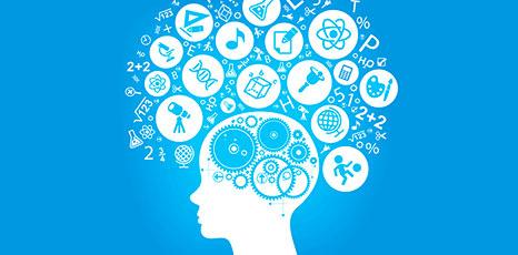 Illustrazione di una testa e di icone sul concetto di innovazione