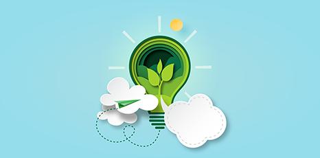 Illustrazione di una lampadina verde